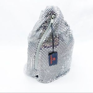 Vintage Silver Metal Mesh Glam Disco Bucket Bag